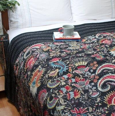 Black Maharaja Pattern Kantha Throw - King