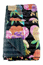 Load image into Gallery viewer, Black Tropicana Kantha Throw Marigold Lane