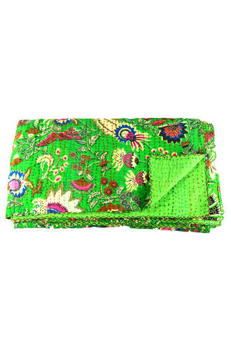 Green Maharaja Kantha Throw Marigold Lane