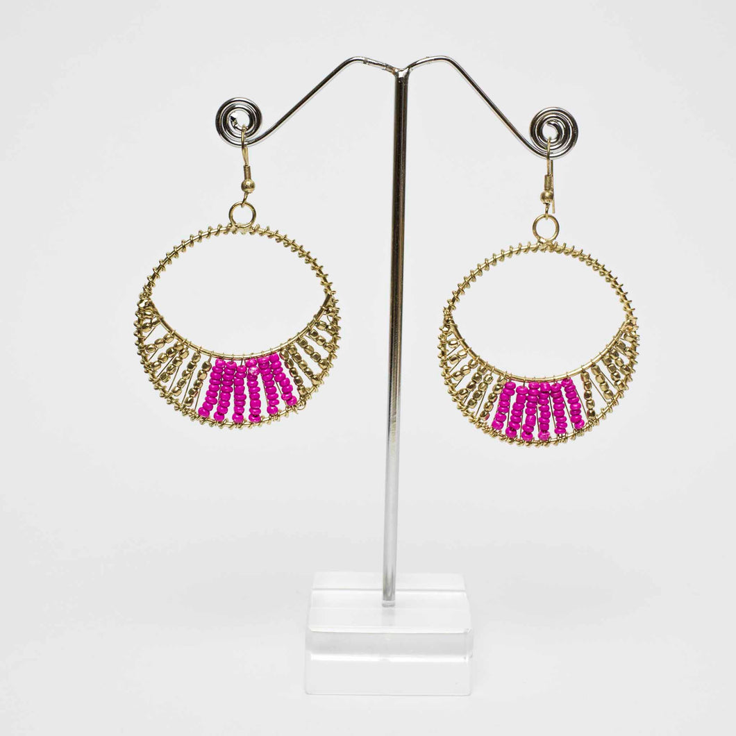 Level Down Beaded Earrings - Pink