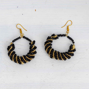 Black Beaded Twist Earrings