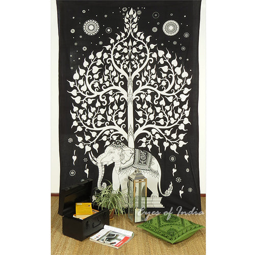 Tree of Elephant Black & White Throw