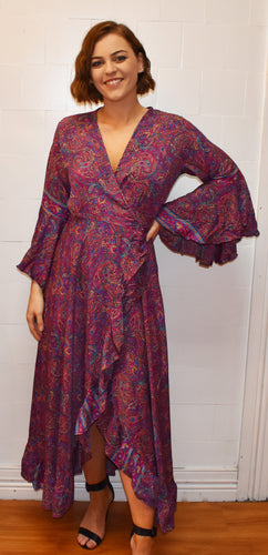 Pink Paisley Silk Wrap Around Dress Marigold Lane New Zealand