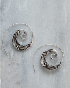 Silver Fern Spiral Earrings Marigold Lane New Zealand