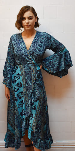 Submariner Blue Silk Wrap Around Dress Marigold Lane New Zealand