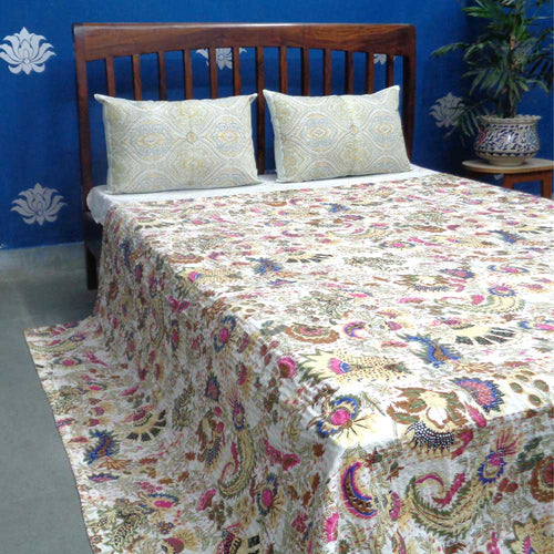 White Maharaja Pattern Kantha Throw – King