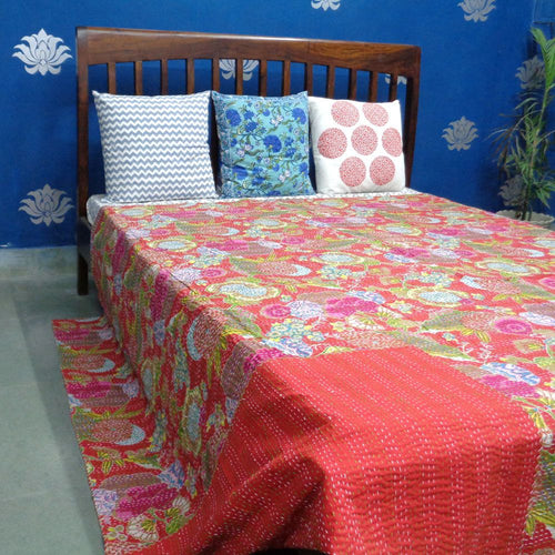 Red Tropicana Kantha Throw - King