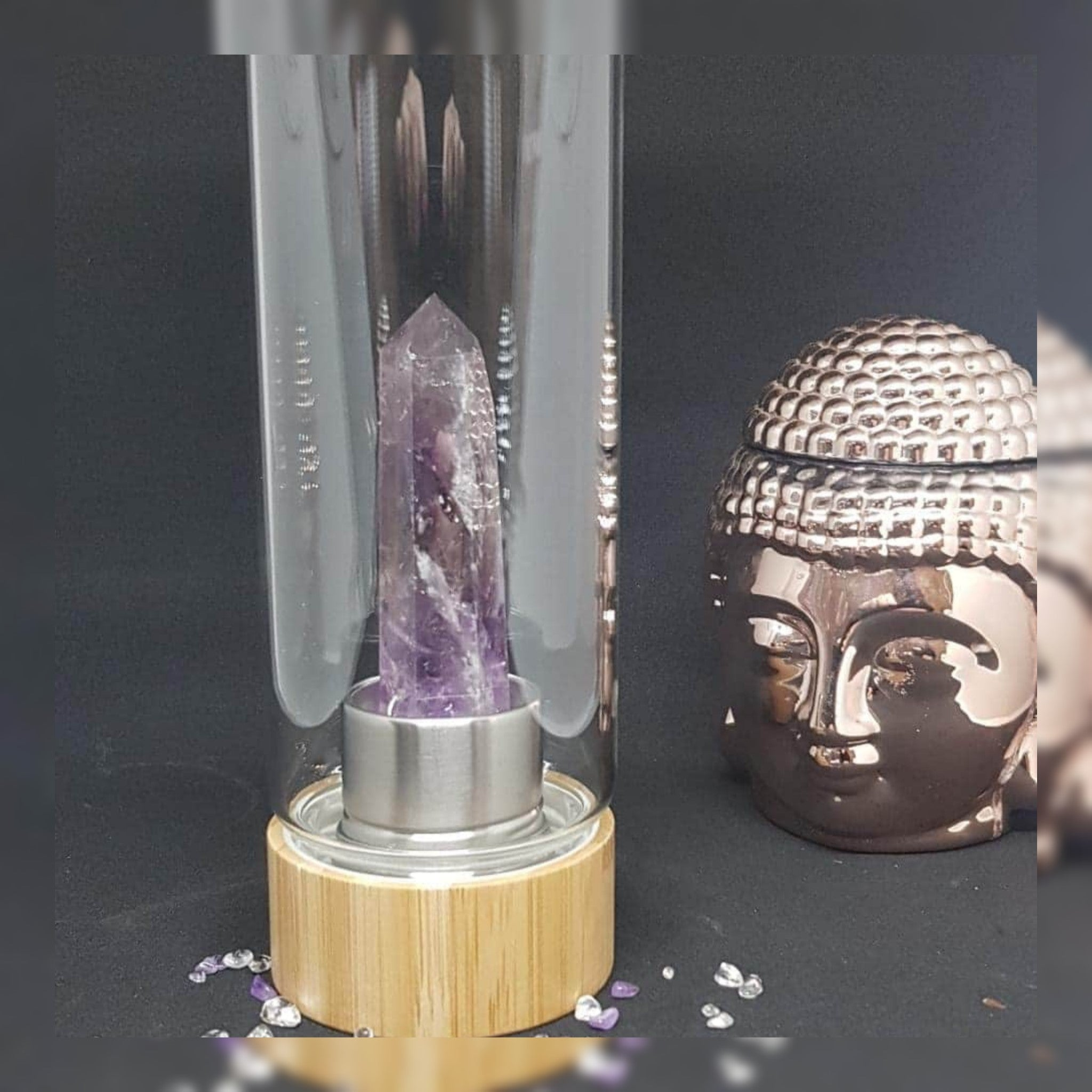 Bamboo Amethyst Crystal Water bottle