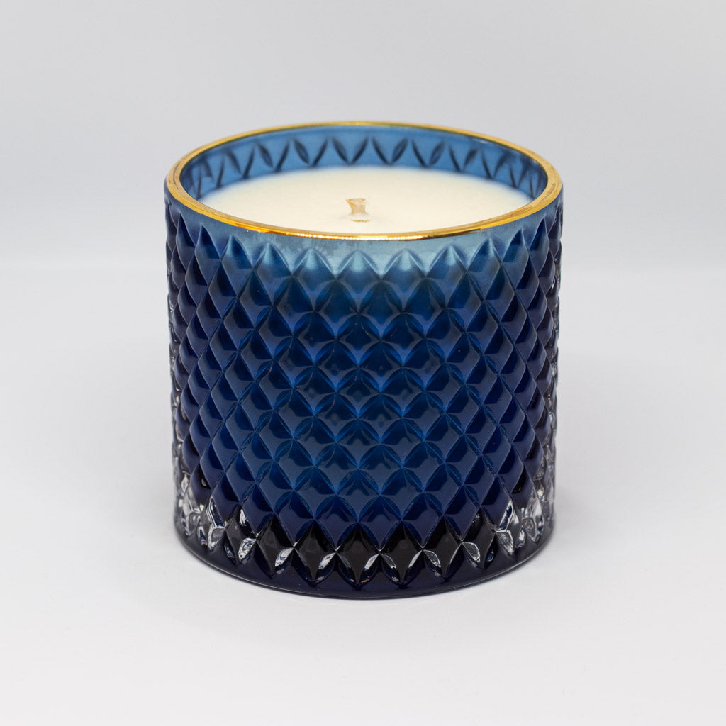 Luxury Royal Blue & Gold Glass Candle