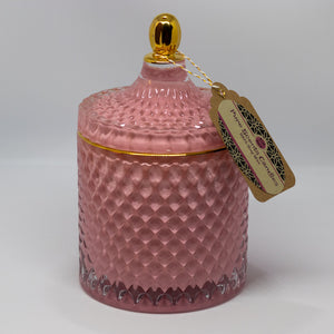 Luxury Pink & Gold Glass Candle
