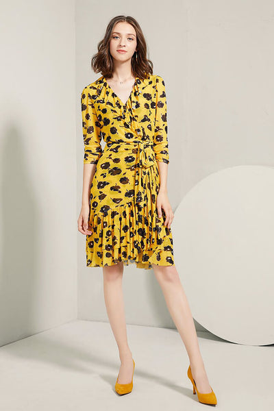 Ruffles Wrap Dress in Yellow Print