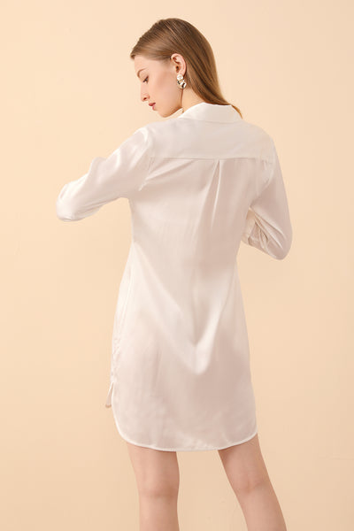 Silk PJs Shirt Dress in White by BASK™