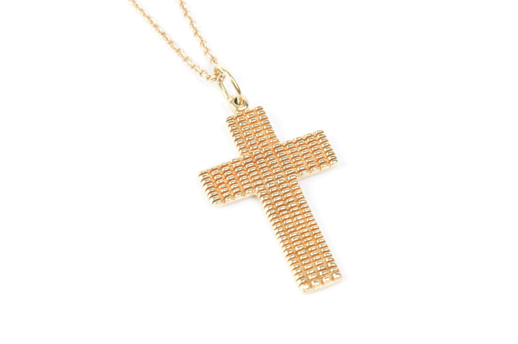 18k Yellow Gold Cross with Basket Weave 1.4