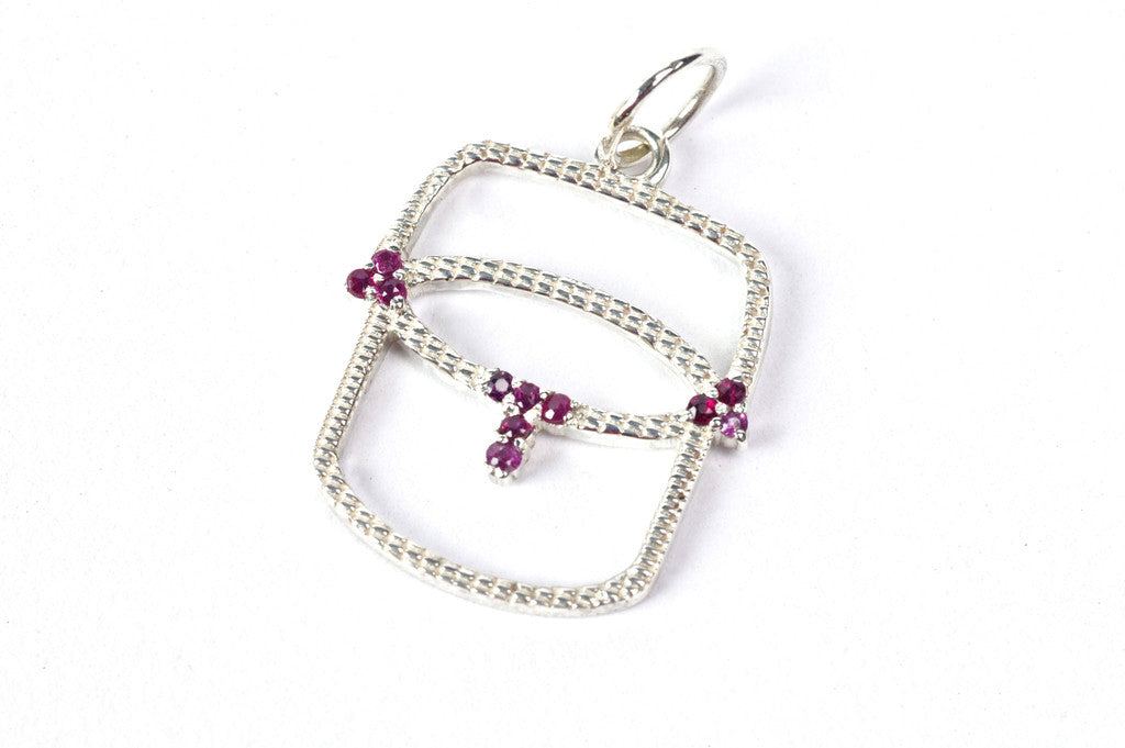 Sterling Silver Open Basket Pendant with Rubies