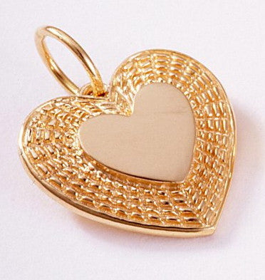 14k Heart Shaped Pendant with Basket Weave 3/4