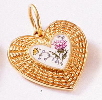 14k Heart Shape Pendant with Handcrafted Scrimshaw 3/4