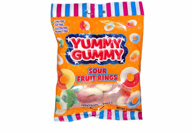 YUMMY GUMMY SOUR FRUIT RINGS 5.3 OZ (150G)