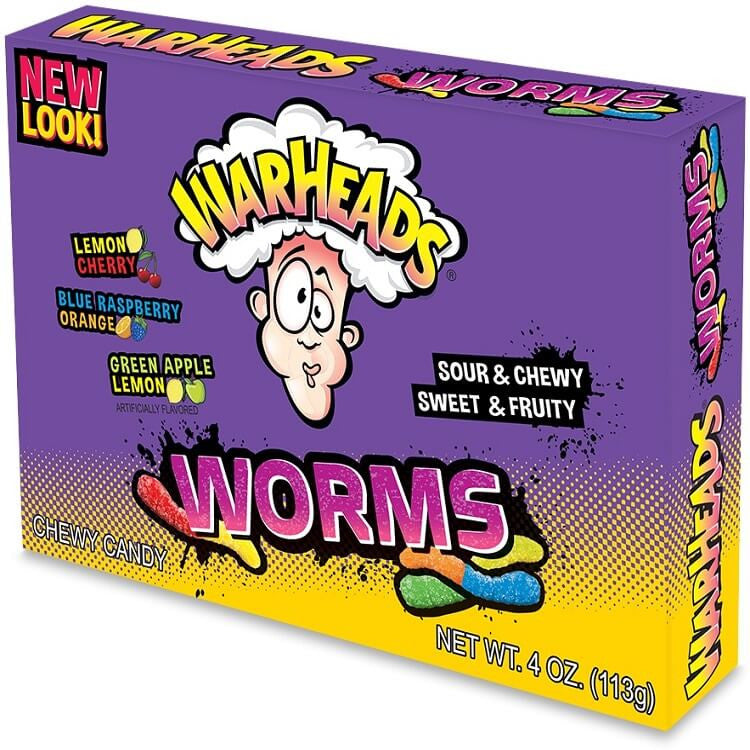 WARHEADS WORMS SOUR SWEETS THEATER BOX 4OZ