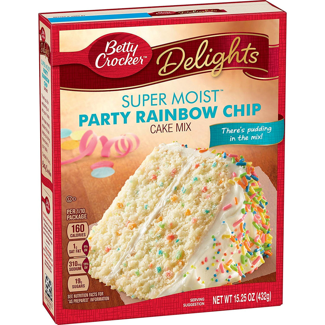 BETTY CROCKER SUPER MOIST RAINBOW CHIP CAKE MIX 432G