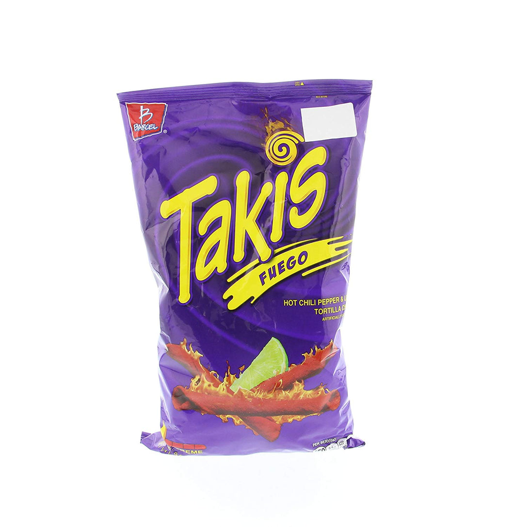 TAKIS FUEGO HOT CHILLI PEPPER & LIME CORN SNACKS 9.9OZ