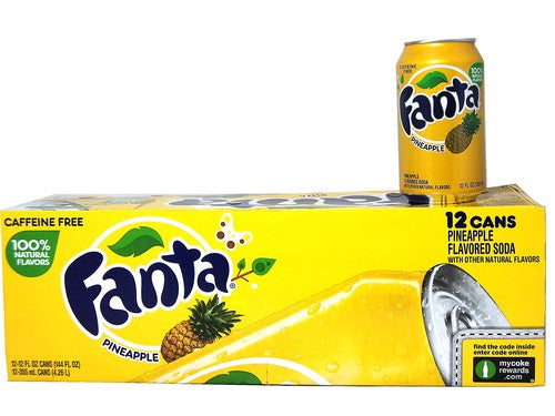 FANTA PINEAPPLE SODA 355ML - SINGLE & 12 PACK
