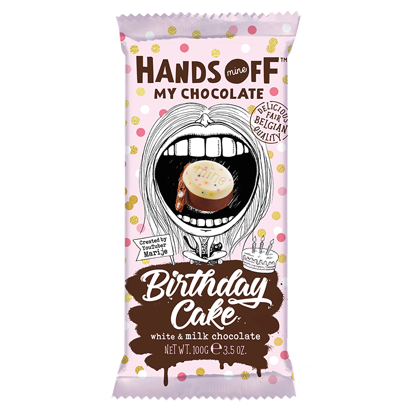 HANDS OFF MY CHOCOLATE BIRTHDAY CAKE WHITE & MILK CHOCOLATE 100G
