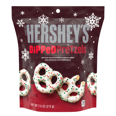 HERSHEY'S SPRINKLED WHITE CREME DIPPED PRETZELS 212G **REDUCED**