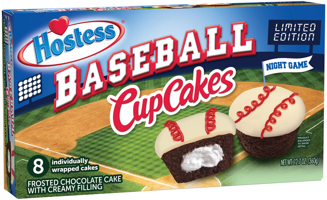 HOSTESS CHOCOLATE BASEBALL CUP CAKES 8 PACK