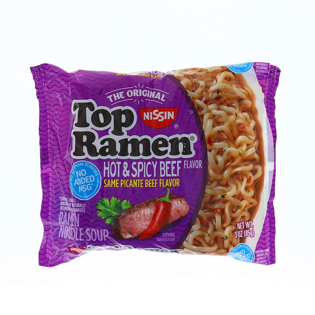 NISSIN NOODLES RAMEN HOT & SPICY BEEF 3OZ