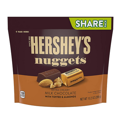HERSHEY NUGGETS - MILK CHOC WITH TOFFEE & ALMONDS 289G