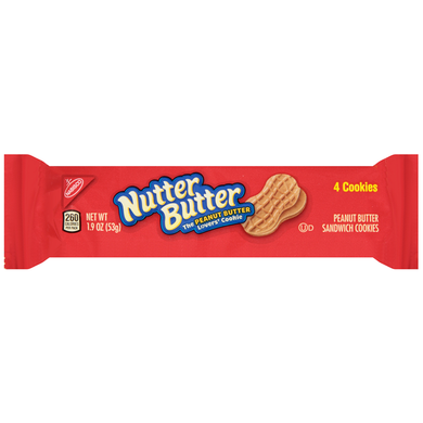 NABISCO NUTTER BUTTER SNACK PACK PEANUT BUTTER COOKIES 1.9OZ (56G)