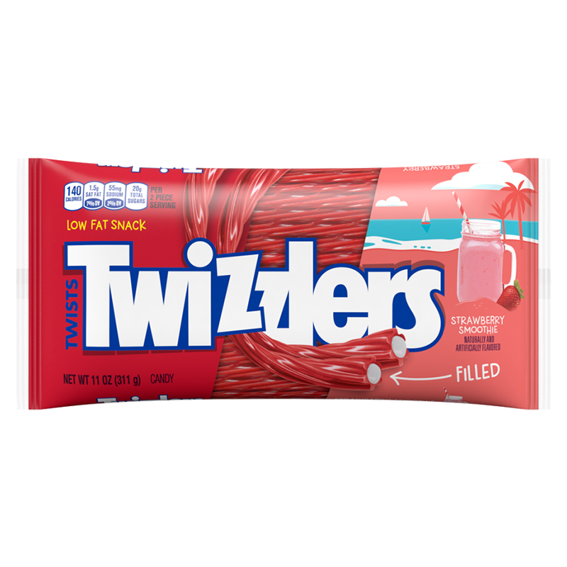 TWIZZLERS LIMITED EDITION STRAWBERRY SMOOTHIE FILLED TWISTS 311G