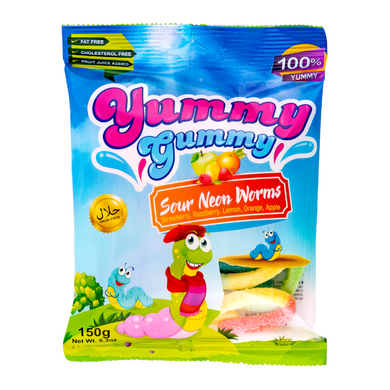 YUMMY GUMMY SOUR NEON WORMS 5.3 OZ 150G