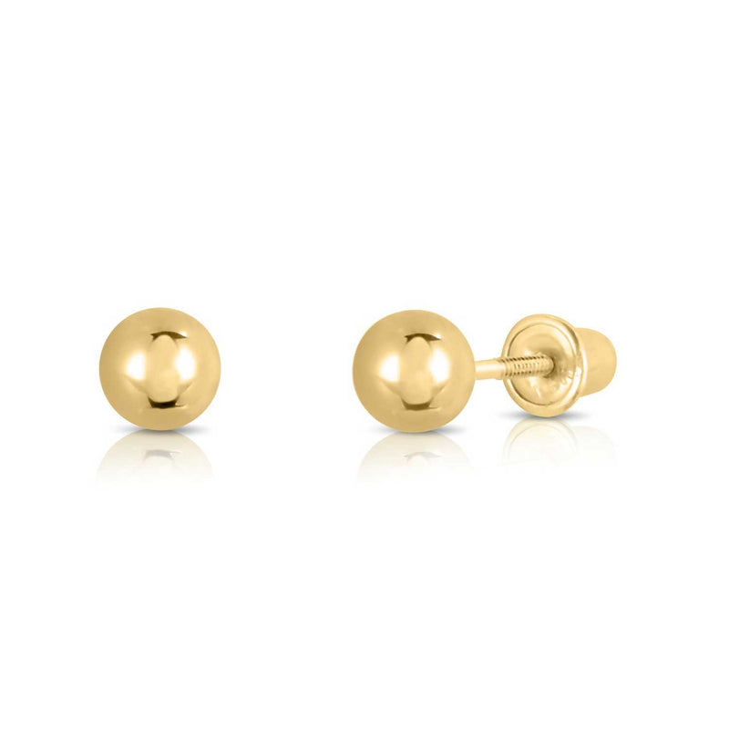 14kt Yellow Gold Balls Stud Earrings with Screwback