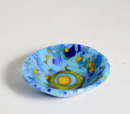 Small Designed Dish - Abstract Blue