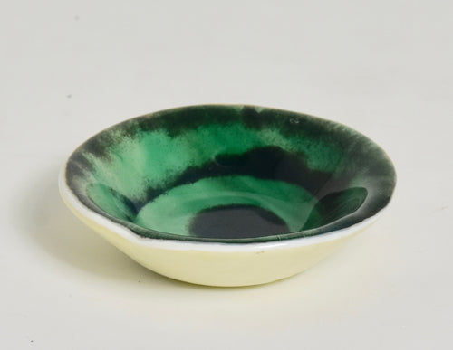 Small Designed Dish Green and Black