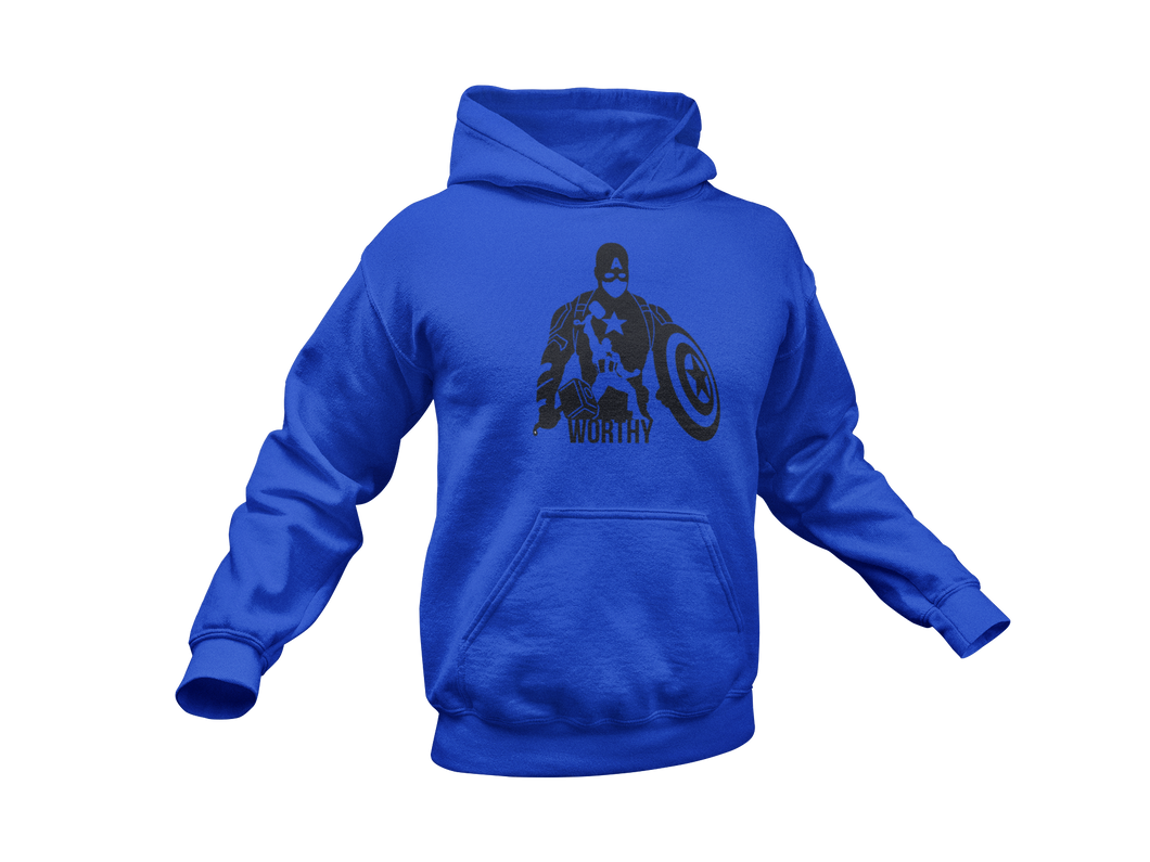 Captain America with Mjolnir - Captain America Worthy - Adult Unisex Hoodie