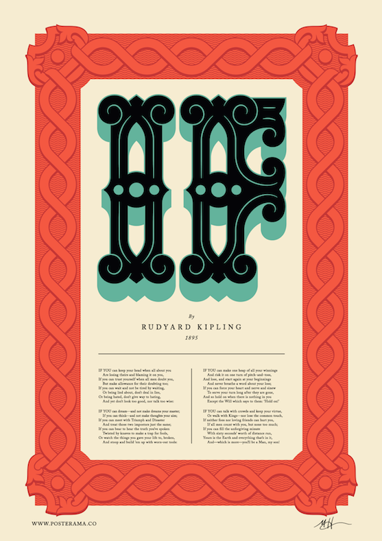 Poems: IF Rudyard Kipling, typography poster MH2