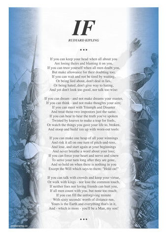 IF poem by Rudyard Kipling typography poster RJ1