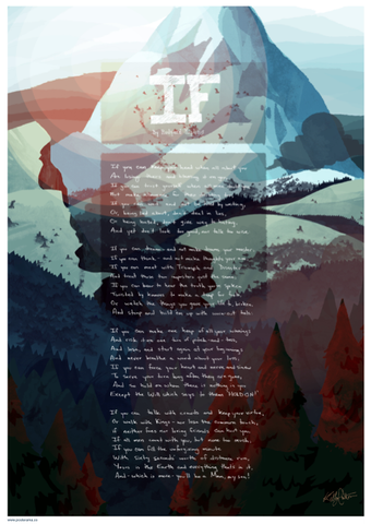 Inspirational quotes: IF, Rudyard Kipling poster Mountain