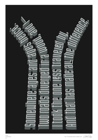 Road Not Taken, Robert Frost typography poster Paths