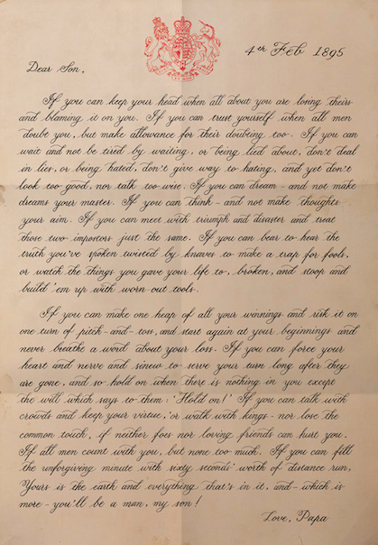 IF poem, Rudyard Kipling typography poster 'letter to my son'