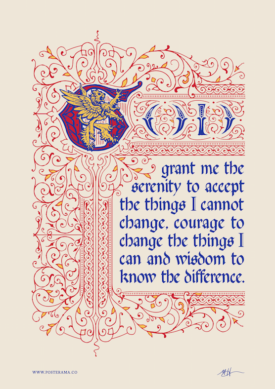 Inspirational quotes: Serenity Prayer typography poster Lion 1