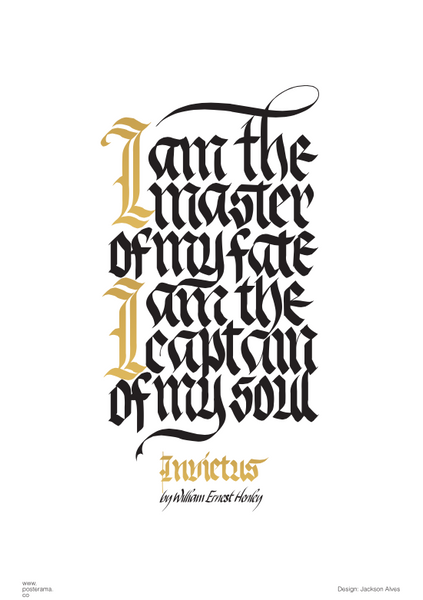Inspirational quotes invictus poem calligraphy poster