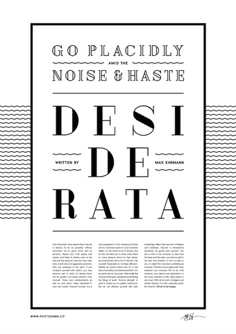 Inspirational quotes: Desiderata typography poster 4