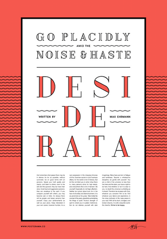 Inspirational poem: Desiderata typography poster 5
