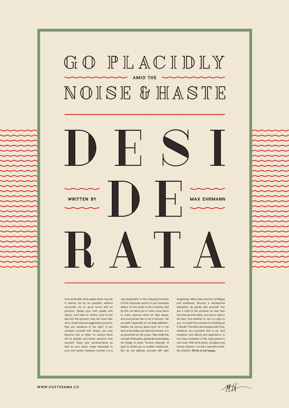 Inspirational quotes: Desiderata typography poster 7
