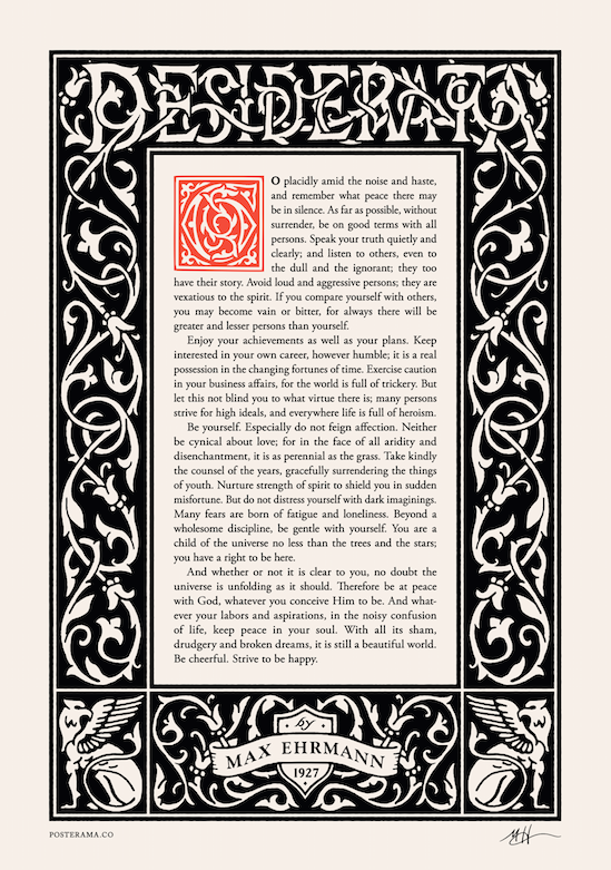 Inspirational poem: Desiderata typography poster 10