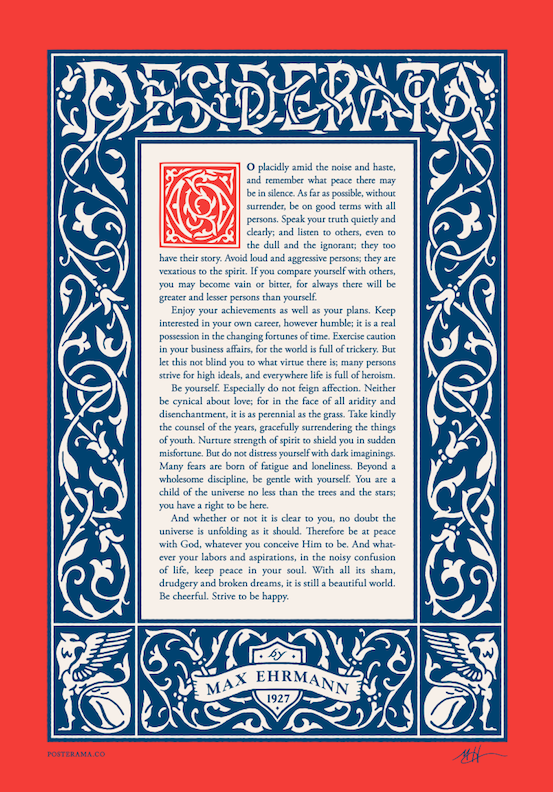 Inspirational quotes: Desiderata typography poster 11