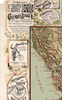 Old Map of California roads for cyclers lettering poster